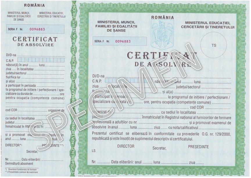 certificat de absolvire Atelierele ILBAH - cursuri de calificare si formare profesionala